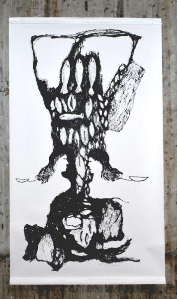 Buikmakrelen, acryl on paper, 150/ 260cm, 2008