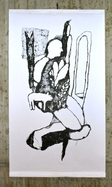 Man with dog, acryl on paper, 150/ 260cm, 2009